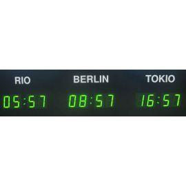 Weltzeituhr mit 5 Zeitzonen Display mit DCF-77 LED grün